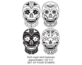 Clear Cling Unmounted set of  Sugar Skull Original Art Rubber Stamps 420
