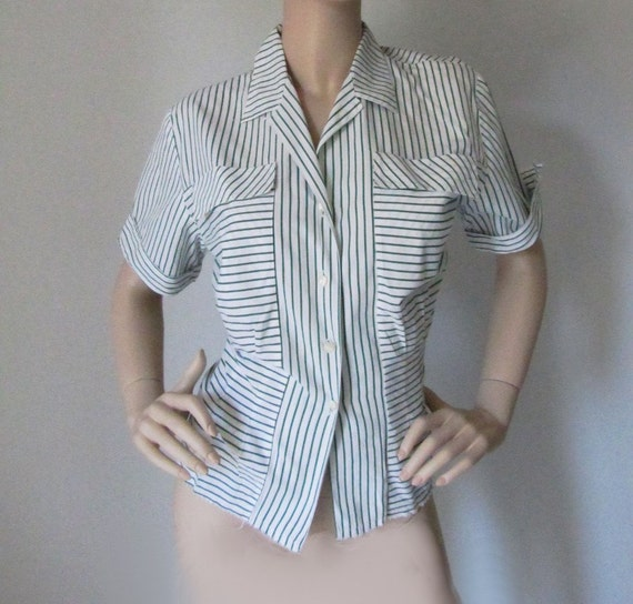 Modern Love - Vintage 1940s 40s Fitted Cotton Blouse Med - Xl