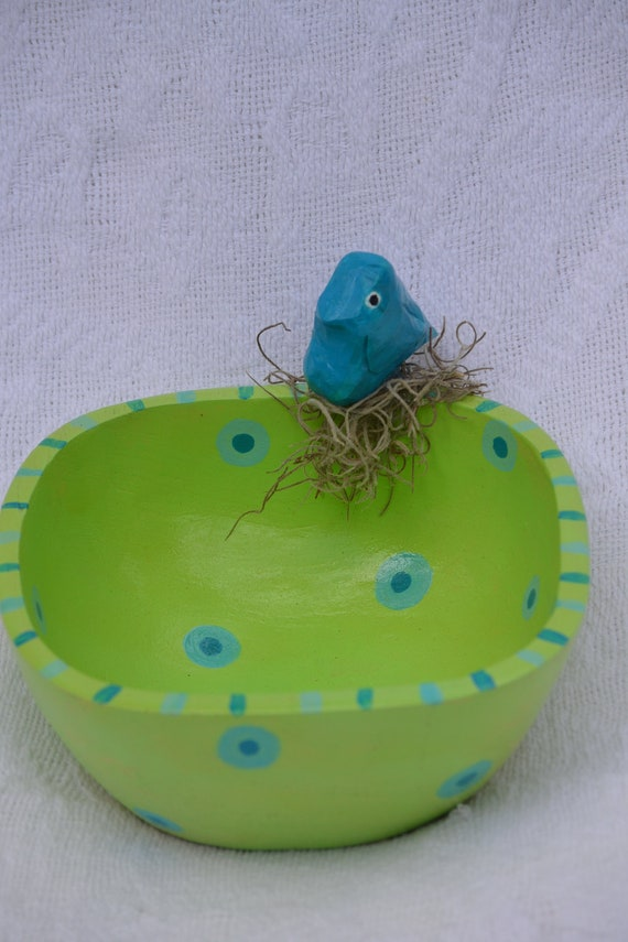 Hand Carved Bird Bowl, Turquoise And Lime Whimsical Beach Cottage Decor