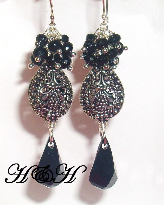 Black Spinel Earrings, Bali Sterling Silver Earrings, Black Cluster Earrings
