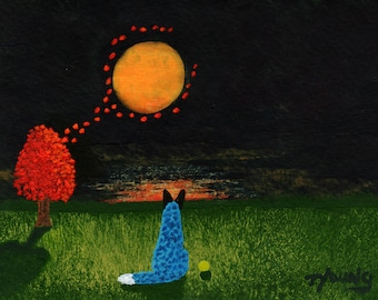 Australian Cattle Dog folk art print by Todd Young Floating Leaves