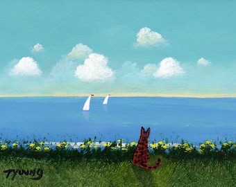 Bengal Orange Tabby Cat Folk art PRINT of Todd Young painting Summer Sails