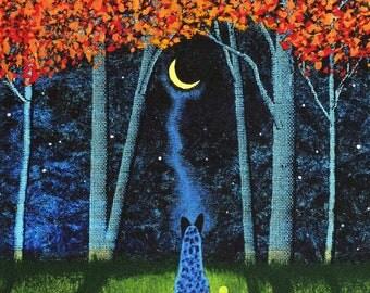 Australian Cattle Dog Fall Forest folk Art PRINT Todd Young painting AUTUMN MOON
