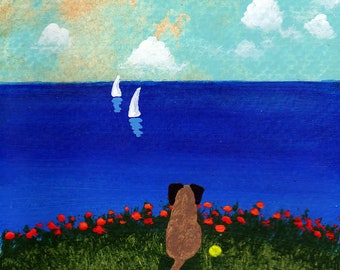 Border Terrier Dog Folk Art Print by Todd Young Sailboats