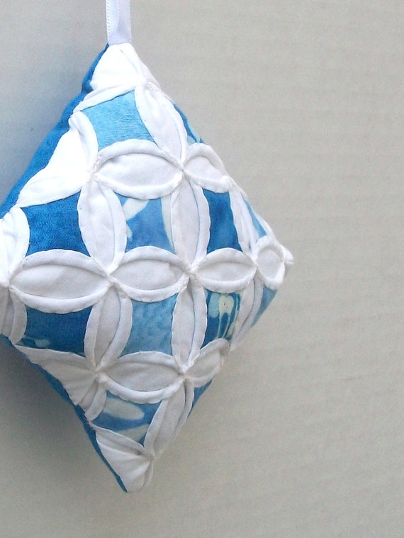 Christmas Tree Ornament Holiday Ornament Blue Batik Miniature Cathedral Window Pillow - 4 Inches