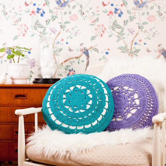 Organic Cotton Crochet lace cover INCLUDING PILLOW / CUSHION