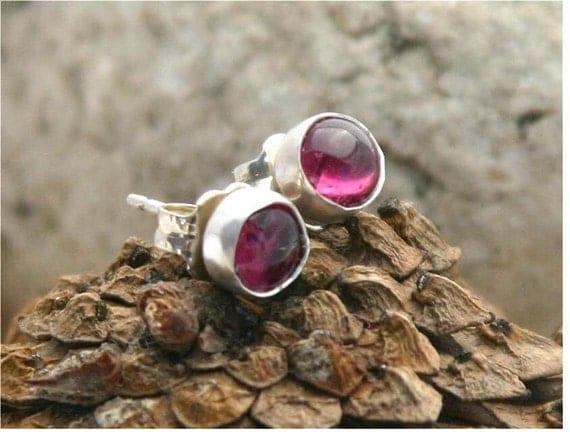 Pink Tourmaline sterling silver post earrings