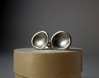 silver stud earrings organic tidal pool sterling shiny sustainable source