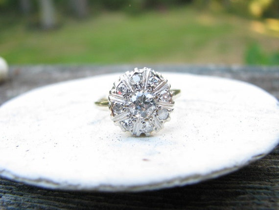 RESERVED for K...Large Fiery Edwardian to Art Deco 14K Gold Diamond Halo Ring  with approx .50 Old Mine Cut Center Diamond
