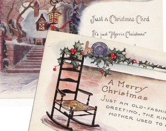 Just a Cozy Christmas - 2 Vintage Christmas Postcards circa 1912