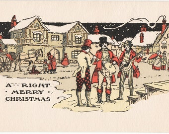 Vintage 1920's Dickens Christmas Card - A Right Merry Christmas