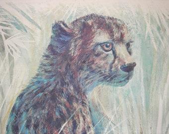 Large Framed Animal Print : R F Harnett Cheetah, Wild Animal Art. Wild Cat. Teal Blue, Brown. Vintage 1970s.