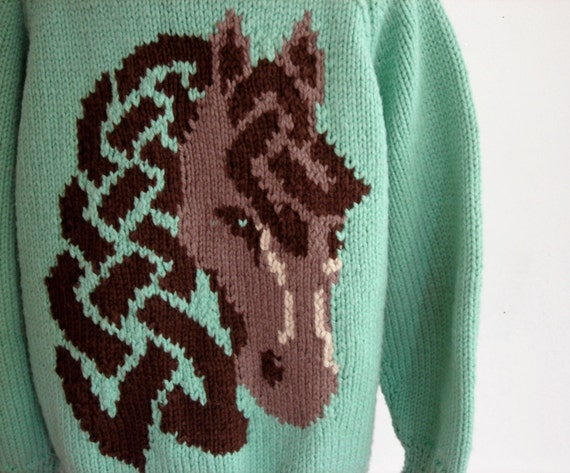 Vintage Cardigan Sweater: Hand Knit Cowichan with Horse