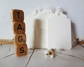 White Tags with Attached String - 20 - for Tea/ Coffee Staining - Hand Stamping - Wedding Trees - Hand made Gift Tags - Ready to Ship