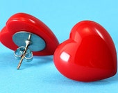 Chunky Heart Stud Earrings - Red - Large Ear Posts