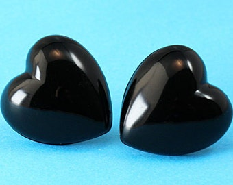 Chunky Heart Stud Earrings - Black - Large Ear Posts