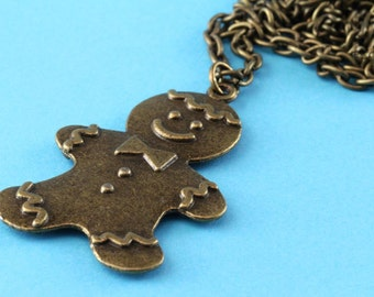 Gingerbread man Cookie Necklace - Christmas