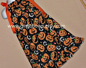 Halloween Ruffled Pumpkin Pillowcase Dress size 3 6 9 12 18 month mo 2T 3T 4T 5 6.... Girliebows