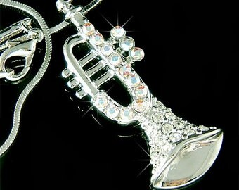 Swarovski Crystal bach king Brass BB TRUMPET Music Pendant charm Music Musical Instrument Necklace Musician Christmas Gift New