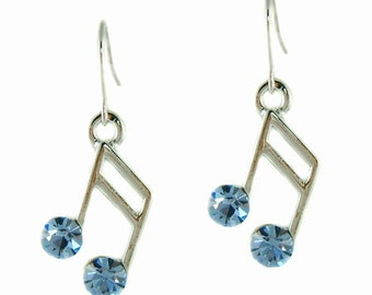Swarovski Crystal Blue Semiquaver 16th Piano MUSIC NOTE Musical pierced Earrings Christmas Best Friend Gift New