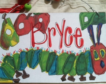 Hungry caterpillar hand personalized kids room name sign