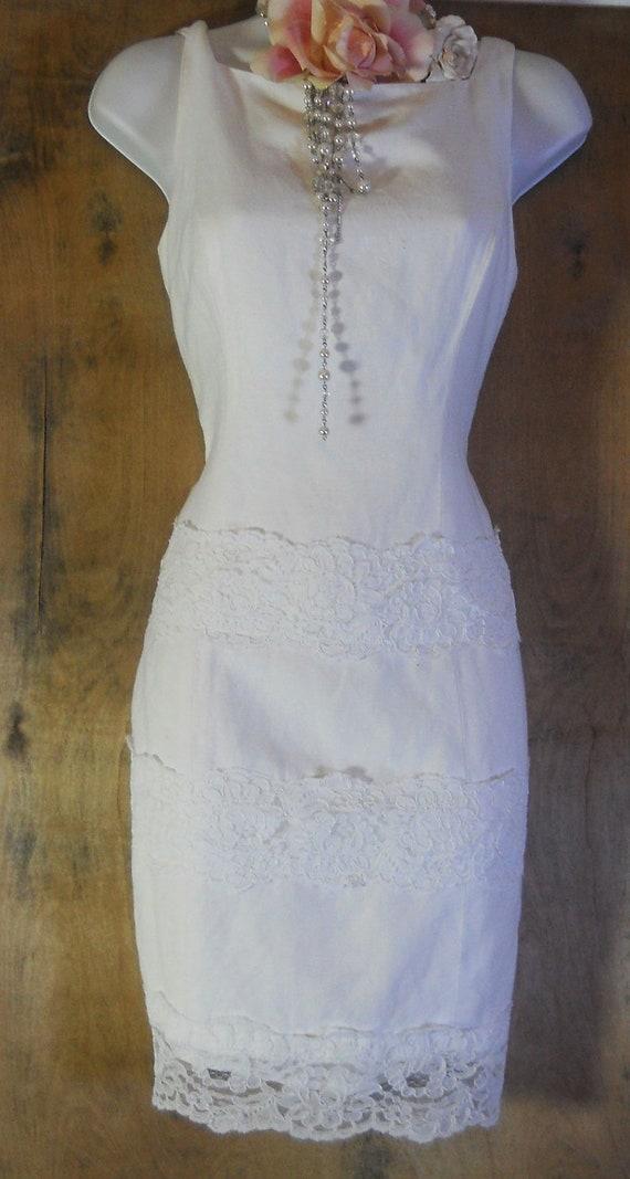 White lace dress cotton linen shift  wedding medium from vintage opulence on Etsy