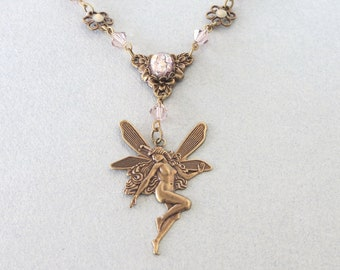 Fairy and Swarovski Crystal Necklace
