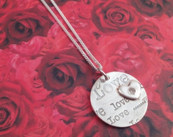 Love Print Silver Necklace