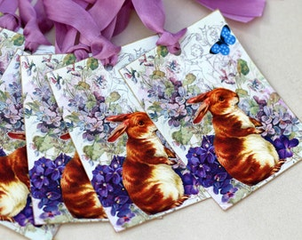 Shabby French Rabbit  Gift Tags