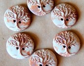6 Handmade Stoneware Buttons - Tree of Life Buttons in Rustic Rust
