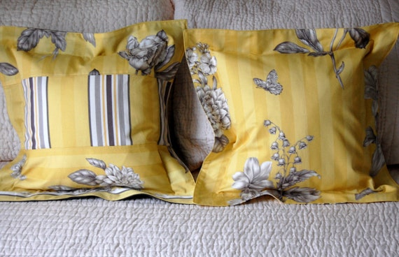 Carmina Pillow Set in Yellow & Gray / modern pillows / botanical bedding / window seat pillows / charcoal gray and mustard yellow / nature