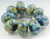 Blue Swirl Handmade Lampwork Glass Bead Set