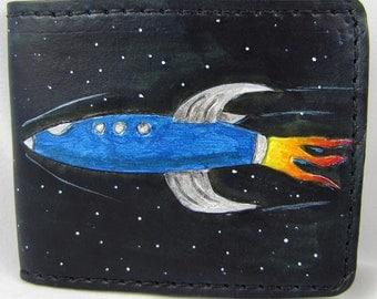Leather Wallet - Space Rocket -
