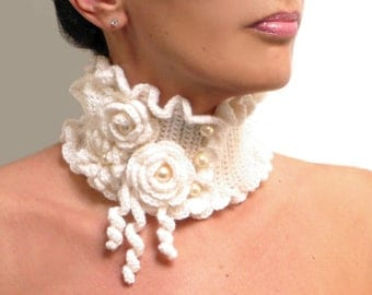 Crocheted White Neckwarmer with Flowers and Glass Pearls - Lux Cowl Choker - WHITE GARDEN