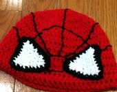 Spiderman Beanie Spiderman Hat Spiderman Costume MADE TO ORDER--all sizes newborn through adult -cute photo prop or costume idea