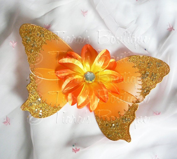 Orange Baby Butterfly Wings - Infant Fairy Wings for Halloween - newborn to 12 months - Photo Prop - Prop for Newborn Photography