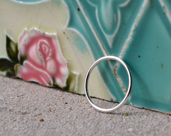 micro slim smooth sterling silver wedding ring band by kimberly nogueira