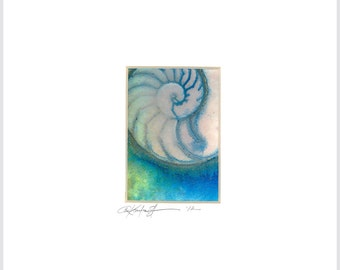 Sea Dreams 3 ... Original Contemporary Nautilus Shell sea  painting matted and ready for frame EBSQ