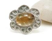30% OFF SALE Gold Quartz Ring Sterling Silver Filigree Flower Rutilated Quartz Jewelry Size 8 -Gold Mine