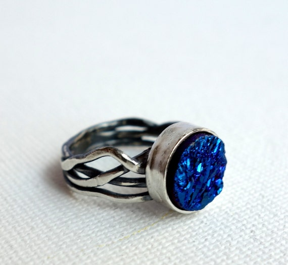 Icy Blue Drusy Sterling Silver Nest Ring
