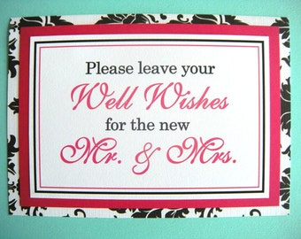 CLEARANCE 5x7 Flat Please Leave Your Well Wishes Wedding Guest Book Sign in Black and White Damask and Hot Pink - Ready to Ship