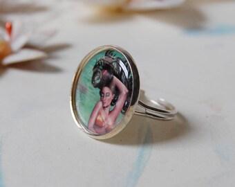 Koi Mermaid Ring Adjustable Silver