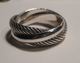Double Diagonal .... 2 Diagonal bands one Plain band......Heavy Rolling  Ring ... Sterling Silver ..made to order in your size.........