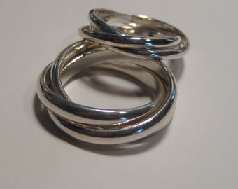 Built Guy Tough Rolling Ring 4mm and  Ladies 2.5 mm Rolling Ring  Set ... Sterling Silver ... made to order