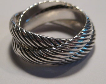 Triple Diagonal Rolling Ring   .... 3 Diagonal bands ......Heavy Rolling ring ... Sterling Silver ..made to order in your size.........