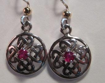 Ruby  Celtic Earrings ... Sterling Silver  ....                 e396