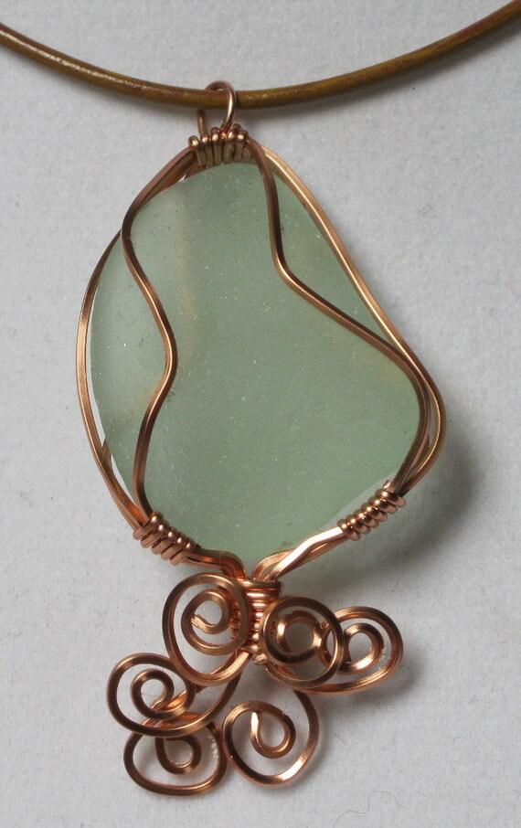 Aqua Sea Glass Pendant Necklace Sea Glass Jewelry OOAK N-72