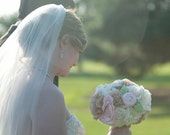 Handmade Bridal Bouquet - Fabric Flower Bouquet with Pink Rosettes - Weddings Bridal Accessories Bouquet