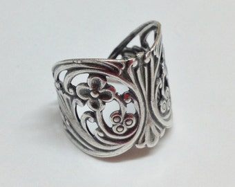 Filigree Ring Blank - Silver Ox Fancy Floral Filigree Adjustable Cuff Ring Blanks