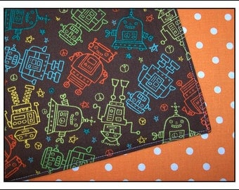 Colorful Robots on Brown Pair of Reversible Cloth Lunch Napkins